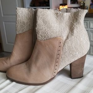 guess lace and leather high heal booties